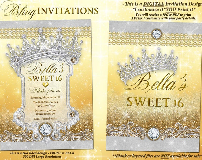 Gold Diamond and Pearl Invitation, Bling Sweet 16 Invitation, Quinceanera, Bling Party Invitations, Mis Quince Anos, Tiara Diamond Glitter