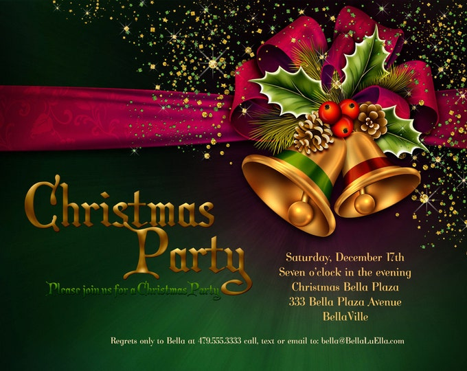Christmas Party Invitations, Christmas Card, Christmas Invitation, Holiday Cards