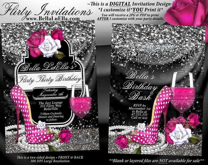 Fabulous and Flirty Party Invitations, Diva Birthday, Birthday Invitations, Fabulous and Forty, Girls Night Out Invites, Heels Champagne
