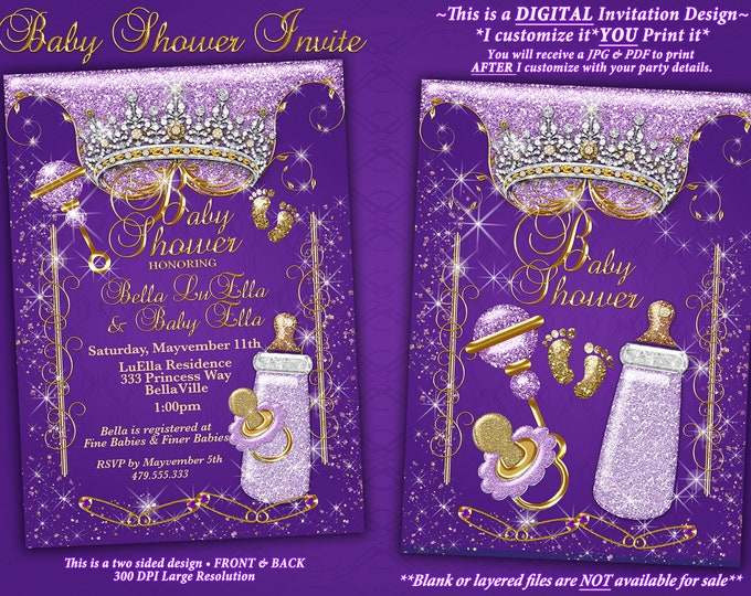 Princess Baby Shower Invitation, Baby Shower Bling, Glitter Princess Baby, Baby Showers, Purple Bling Baby Shower