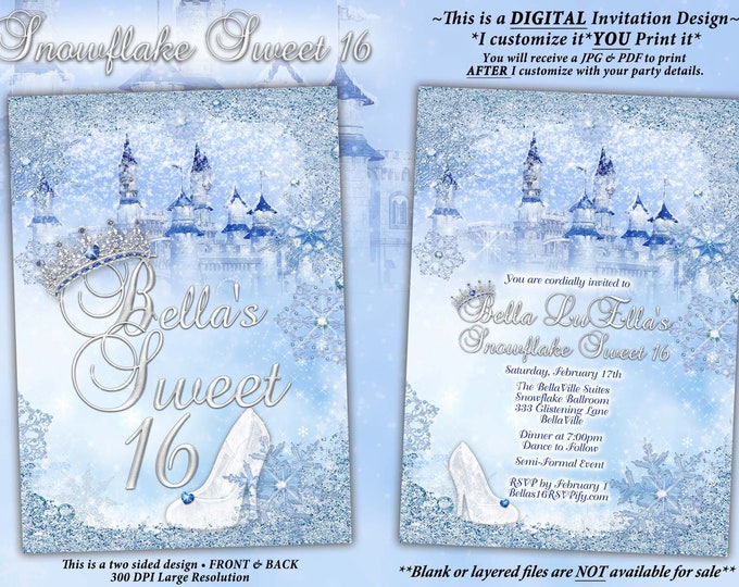 Snowflake Castle Sweet 16 Invitation, Winter Princess Castle, Snowflake Mis Quince Anos, Winter Snow Ball, Snowflake Invitation