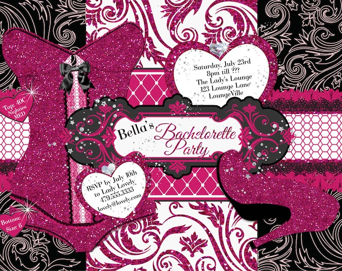 Bachelorette Party Invitations, Lingerie Shower Invitations, Corset Invitations, Burlesque Invitations
