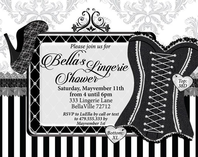 Lingerie Shower Invitation Bachelorette Party Invitations