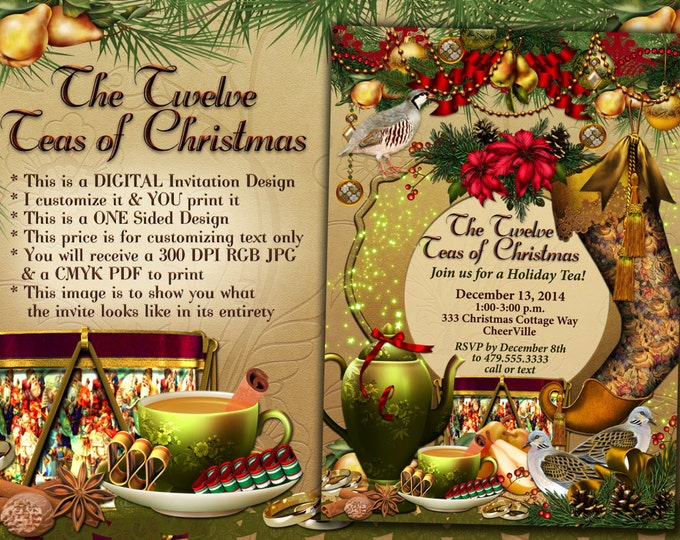 12 Teas of Christmas, Christmas Tea Party Invitation, Holiday Tea Party,