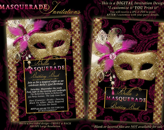 Quinceanera Masquerade, Mis Quince Anos, Sweet 16, Masquerade Party Invitation, Mardi Gras Party, Party Invitations, Masquerade Invitations