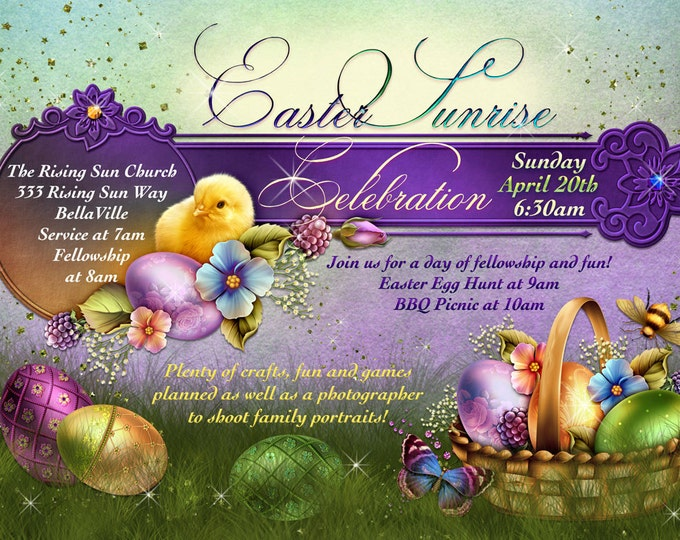 Easter Sunday, Easter Sunrise Service, Easter Egg Hunt Party, Easter Sunday Card, Easter Announcements