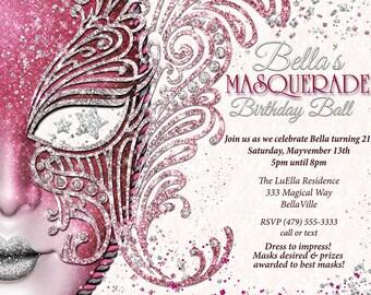 quinceanera masquerade party birthday masquerade invitation etsy