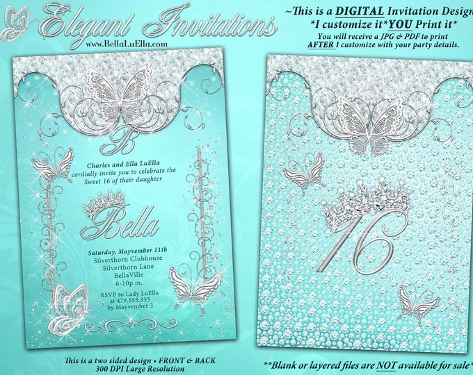 Butterfly Princess Party Invitation, Butterfly Tiara Sweet 16, Mis Quince Anos, Bling Princess, Diamonds Tiara Butterflies, Aqua Cyan