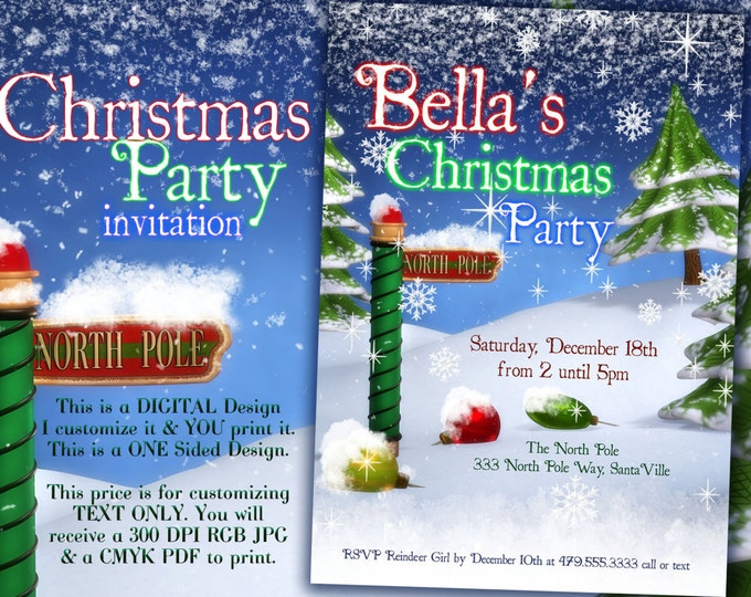 Christmas Invitation, Christmas Party Invitations, Holiday Invitations, Holiday Christmas Party, North Pole Party