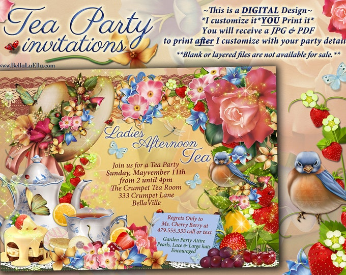 Tea Party Invitation, Garden Tea Party, Party Invitations, Birthday Tea Party, Tea Parties, Ladies Hat Tea Party, Garden Bird Tea
