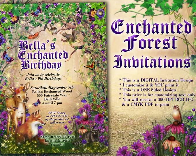 Enchanted Fairy Wood Birthday Party, Magical Party Invitations, Enchanted Wood Card