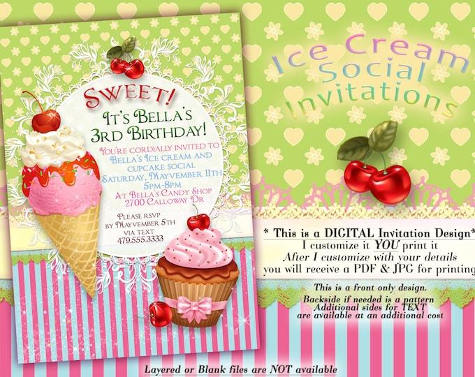 Ice Cream Cake Birthday Party Invitation, Birthday Party Invitations, Sweeties Party, Party Invitations