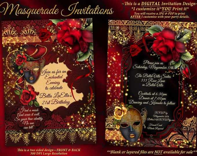 Masquerade Party Invitation, Mardi Gras Party, Birthday Masquerade Ball, Miss Quince Anos, Sweet 16 Masquerade, Quinceanera, Red Roses