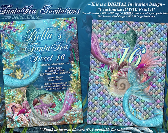 Under the Sea Party, FantaSea Sweet 16, Mermaid Invitations, Mis Quince Anos, Mermaid Shells Scales Sea Theme