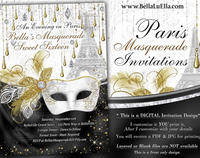 Paris Masquerade Invitation, Bling Paris Masquerade, Mis Quince Anos, Quinceanera, Sweet 16 Ball, Paris Quince, White Gold black Jewels