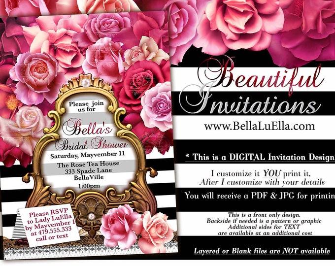 Black White Stripe Rose Shower Invitations, Birthday Invitations, Lingerie Shower, Bridal Party