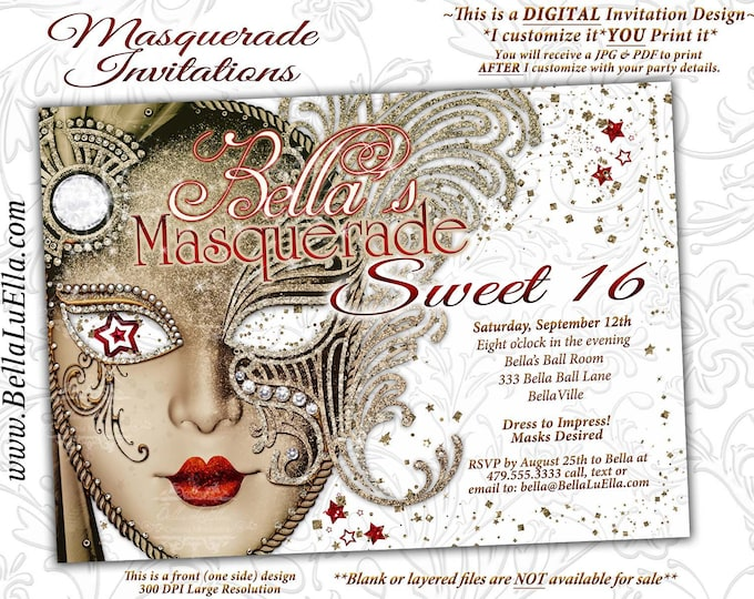 Masquerade Party Invitation, Mardi Gras Party, Party Invitations, Masquerade Invitations, White Gold Red Masquerade, Mis Quince Anos