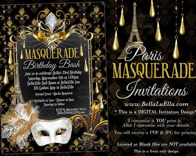 Paris Masquerade Party Invitation, Mardi Gras Party, Mis Quince Anos Mascarda, Quinceanera, Sweet 16 Ball, Paris Quince, White Gold