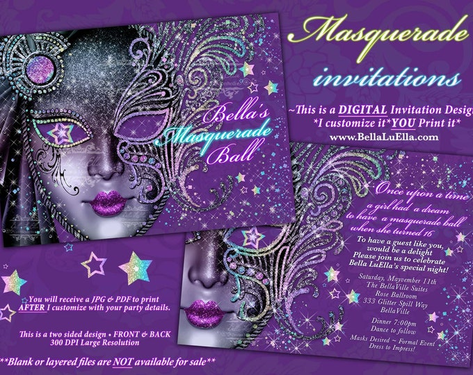 Masquerade Party Invitation, Mardi Gras Party, Mis Quince Anos, Quinceanera Masquerade, Sweet 16 Ball, Purple Mask Party, Bella LuElla