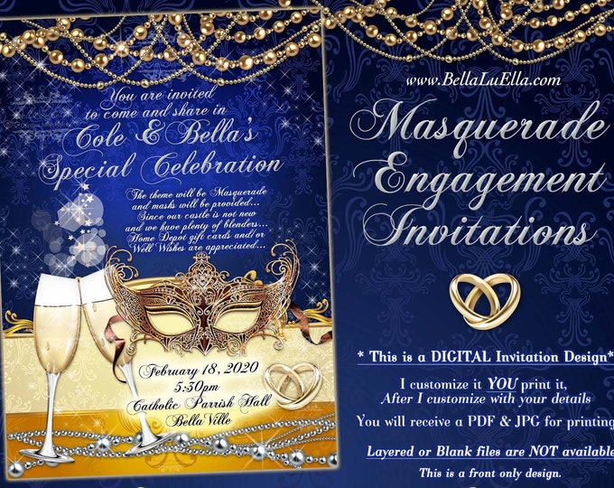 Masquerade Engagement Shower Invitation, Mardi Gras Masquerade Couples Shower, Mardi Gras Birthday Party, Royal Blue Engagement