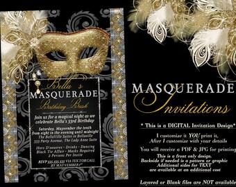 masquerade invites etsy