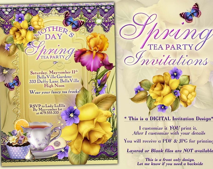 Spring Tea Party Invitation, Mothers Day Tea, Garden Tea Party, Bridal Tea Shower, Bridal Shower Tea Party, Yellow Spring Iris Daffodils
