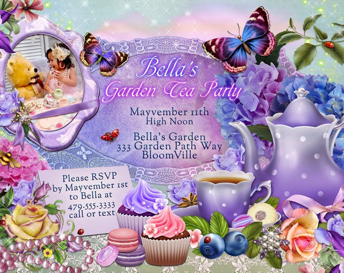 Tea Party Invitation, Photo Tea Party, Party Invitations, Birthday Tea Party, Tea Parties, Photo Cards