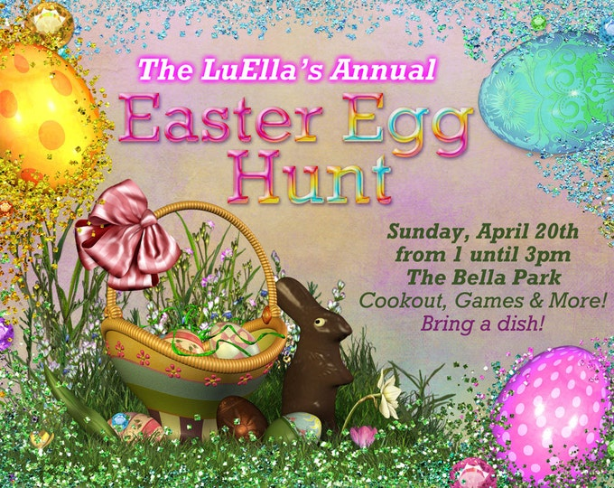 Easter Egg Hunt Party, Easter Sunday Card, Egg Hunt Invitations