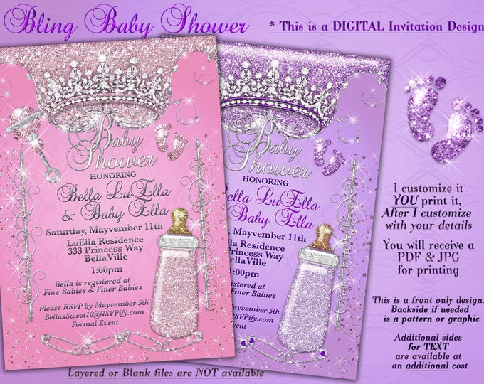 Princess Baby Shower Invitation, Baby Shower Bling, Glitter Princess Baby, Baby Showers