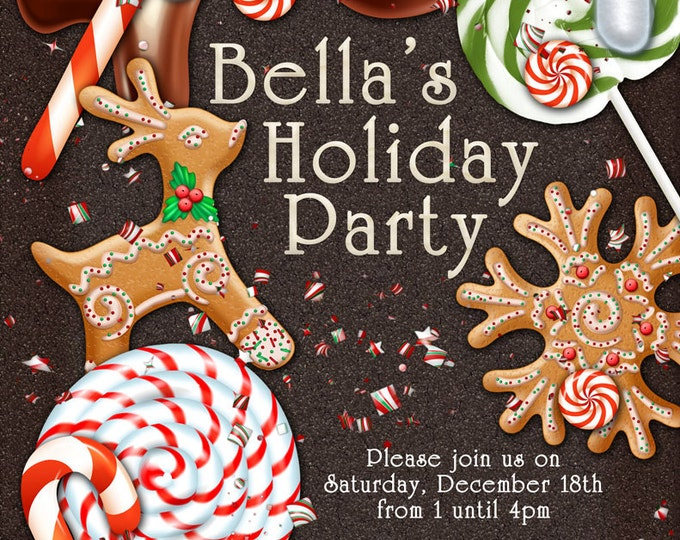 Candy Land Christmas, Holiday Party, Christmas Party Invitations, Cookie Exchange