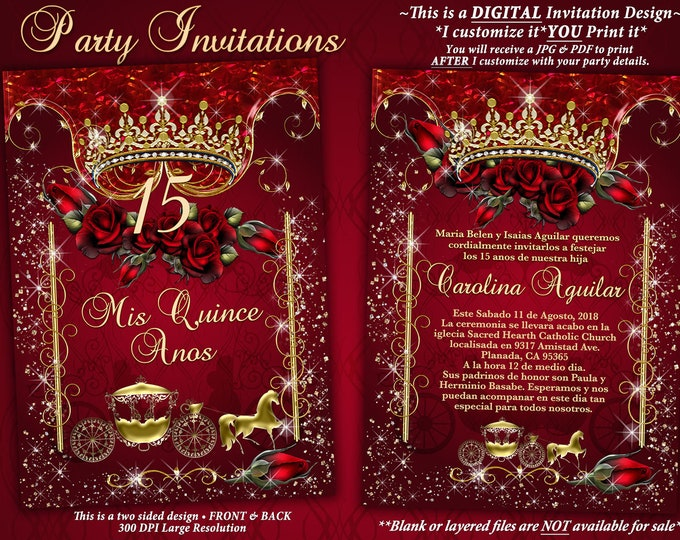 Red Rose Tiara Gold Carriage Invitation, Quinceanera Invitation, Birthday Party Invitations, Sweet 16 Party, Mis Quince Años
