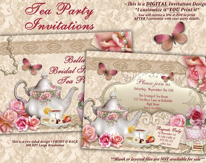 Tea Party Invitation, Bridal Tea Party, Garden Tea Party, Bridal Tea Shower