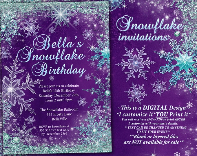 Winter Wonderland Party, Winter Snowflake Ball Invitation, Winter Party Invitation, Snowflake Invitation, Christmas Party Invitation