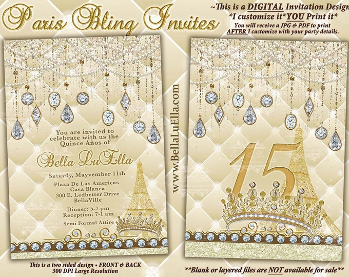 Paris Bling Party Invitations, Gold Paris Bling Sweet 16, Mis Quince Anos, Paris Bling Tiara Gold Jewel, Paris Birthday Theme Party