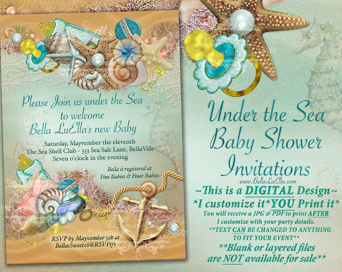 Under the Sea Baby Shower Invitation, Enchanted Seas Shower, Baby Shower Invitation, Seahorse shells sand anchor nautical, Seaside Baby