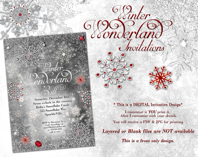 White Black Snowflake Invitation, Winter Wonderland Party Invitation, Snowflake Holiday Invitation, Christmas Party Invitation