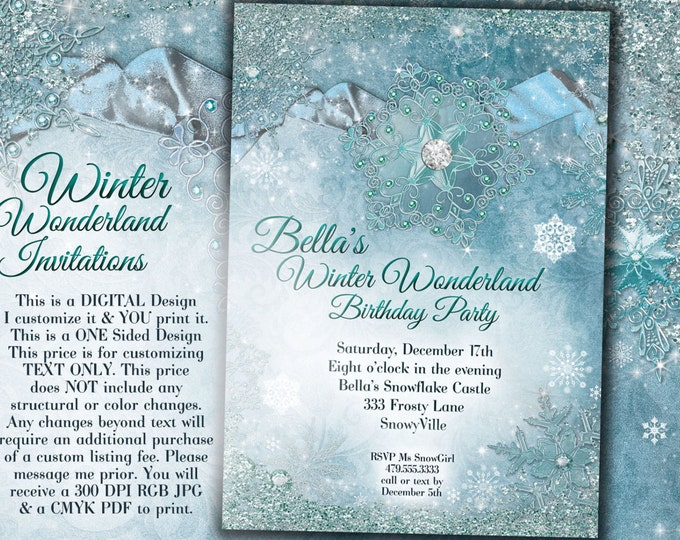 Winter Wonderland Party, Winter Snowflake Invitation, Winter Party Invitation, Snowflake Invitation, Winter Quince Anos, Snowflake Sweet 16