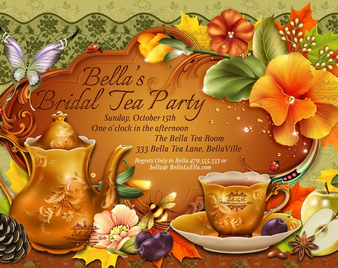 Fall Tea Party Invitation, Bridal Tea Party, Garden Tea Party, Party Invitations, Tea Party