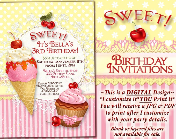 Ice Cream Cake Birthday Party Invitation, Birthday Party Invitations, Sweeties Party, Party Invitations, Summer Ice Cream Social