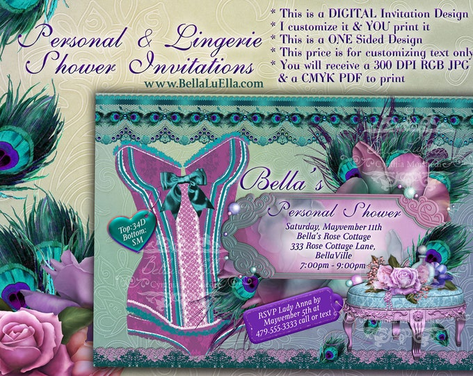 Lingerie Shower Invitation,Personal Shower Invitations, Corset Invitations, Burlesque Invitations, Peacock Feathers, Purple Green