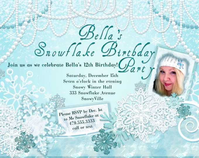 Photo Birthday Invitation, Snowflake Party, Winter Wonderland Birthday, Christmas Photo Cards, Winter Quince