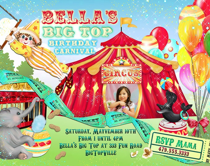 Photo Carnival Birthday Party Invitations, Big Top Birthday Party, Party Invitations, Circus Birthday Party