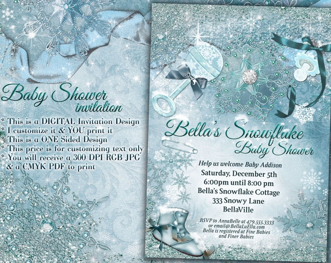 Snowflake Baby Shower, Christmas Baby Shower, Holiday Baby Shower, Baby Shower Invitation, Winter Baby Shower