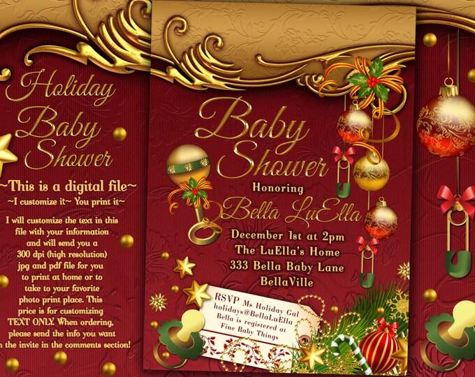 Christmas Baby Shower, Holiday Baby Shower, Baby Shower Invitation, Festive Baby Shower