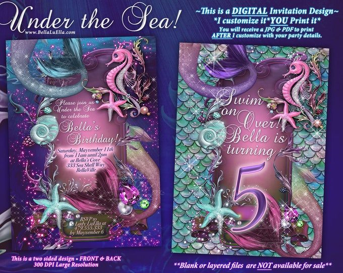 Mermaid, Mermaid Invitations, Mermaid Party, Under the Sea Invitations, Enchanted Seas, Seahorse Mermaid Pool Party, Starfish Seahorse