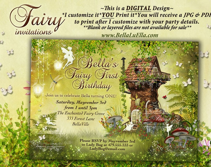 Fairy Garden Party Invitation, Fairy Invitations, Birthday Invitations, Shower Invitations, Woodland Party, Enchanted Woods Party