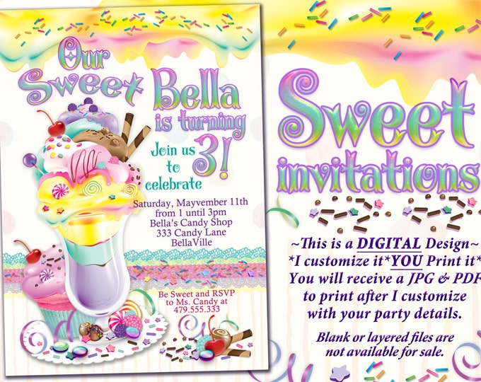 Ice Cream Cake Birthday Party Invitation, Birthday Party Invitations, Sweeties Party, Candy Land Ice Cream Social