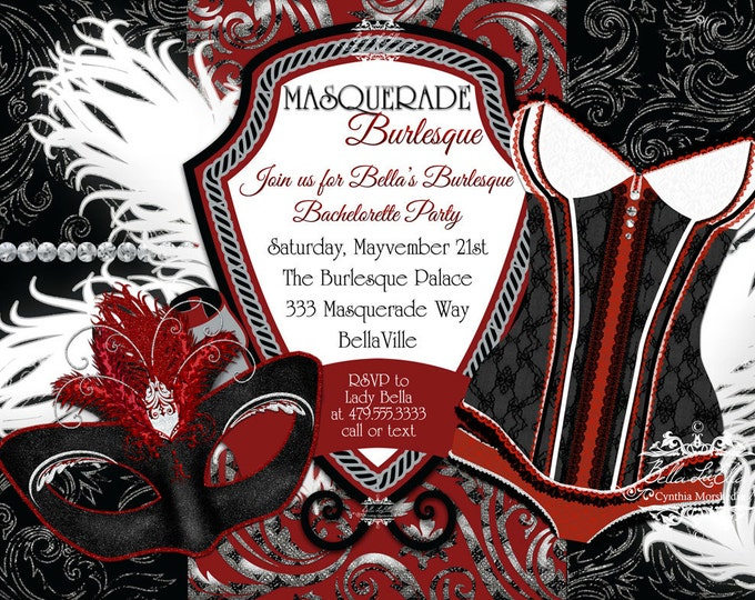 Masquerade Bachelorette Party Invitation, Bachelorette Party, Masquerade Invitations, Burlesque Masquerade