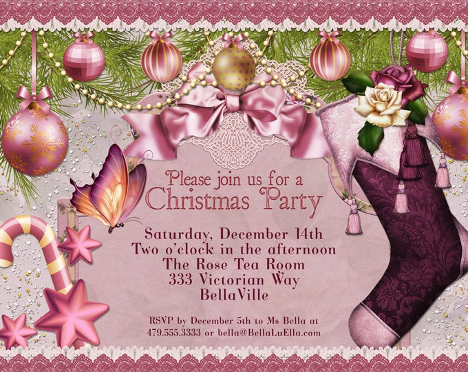 Christmas Party Invitation, Victorian Christmas Card, Ladies Christmas Luncheon, Christmas Cards, Holiday Party Invitations