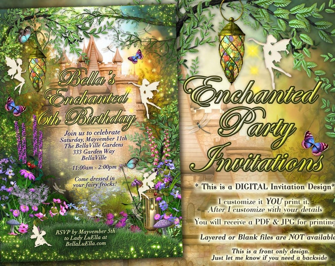 Castle Fairytale Party Invitations, Woodland Themed Party, Enchanted Woods Party Invitation, Enchanted Forest Castle Party